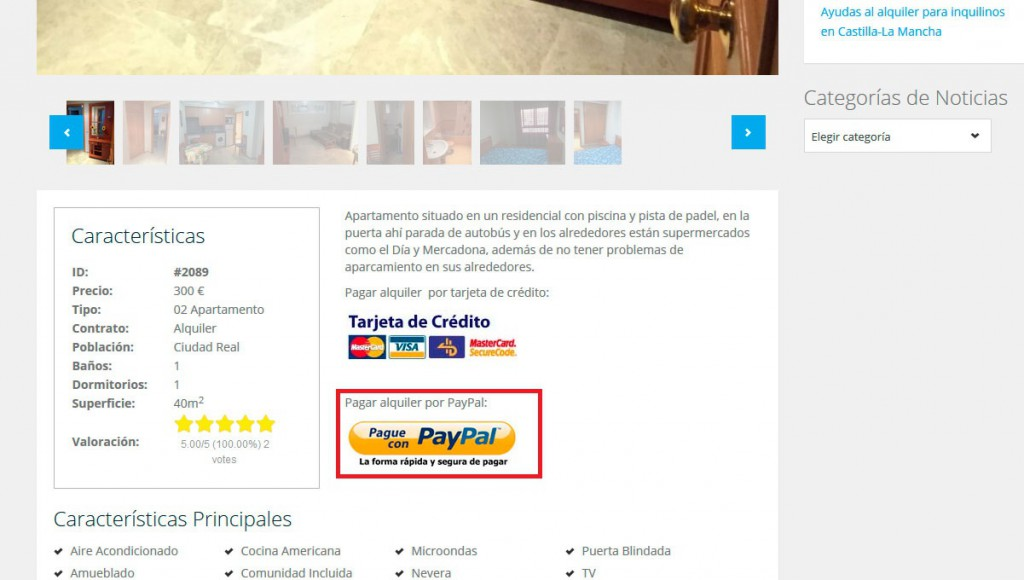 alquilar paypal